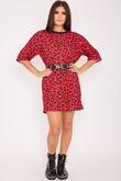 MEGHAN Red Leopard Print Oversized T Shirt Dress