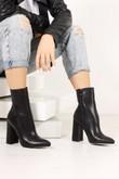 ARIEL Black Snake Block Heel Boots