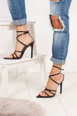 AURORA Black Pointy Wrap Up Heels