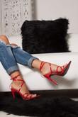 AURORA Red Pointy Wrap Up Heels