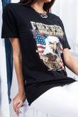 TARA Black Eagle Slogan Print Oversized T Shirt
