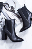 RITA Black Block Heel Ankle Boots