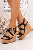 JOY Black Woven Cross Strap Wedges