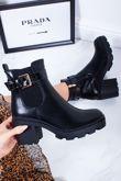 MELISSA Black Buckle Strap Chunky Block Heel Boots