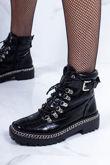 LEXI Black Croc Chain Hiker Boots