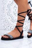 CELINE Black Wrap Up Rope Sandals With Diamante Detail