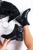 ROSA Black Faux Leather Buckle Strap Chelsea Boots