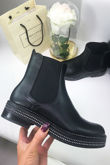 RIVER Black Faux Leather Chelsea Boot With Diamante Detail