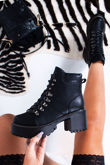 MILA Black Lace Up Chunky Ankle Boots