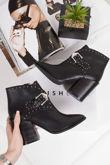 LUNA Black Silver Stud Block Heel Cowboy Ankle Boots