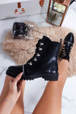 CARLA Black Faux Leather Hiker Boots