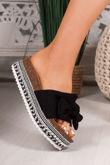 KIRA Black Bow Aztec Stud Flatform Sandals