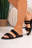JENNA Black Faux Suede Strap Stud Detail Sandals