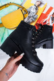 MONICA Black Lace Up Chunky Ankle Boots