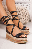 INDIGO Black Faux Leather Wrap Up Espadrille Flatforms