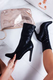 VALENCIA Black Faux Leather Sock Boots