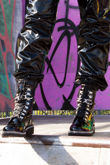 TALIA Black Metallic Silver Chain Detail Biker Boots