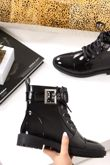 WYNTER Black High Shine Eyelet Buckle Strap Ankle Boots