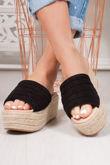 JESSIE Black Quilted Strap Espadrille Mule Flatforms
