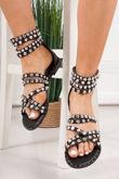 ISLA Black Diamante Stud Sandals With Silver Detail