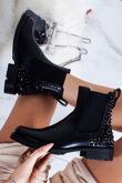 KALI Black Faux Leather Black Stud Chelsea Boots