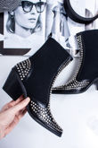 SAPPHIRE Black Silver Studded Western Boots