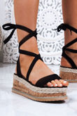 INDIGO Black Wrap Up Espadrille Flatforms