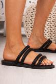 JENNA Black Faux Leather Strap Stud Detail Sandals