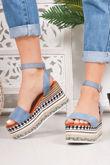 LIVI Blue Faux Suede Strap Aztec Flatform Sandals