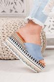 BLAKE Blue Faux Suede Strap Aztec Flatforms