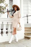 KIARA Beige Ribbed Puff Sleeve Knitted Jumper Dress