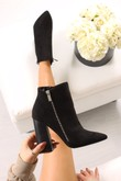 ERICA Black Faux Suede Block Heel Ankle Boots