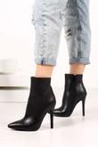 FAITH Black Faux Leather Stiletto Ankle Boots