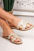 SOPHIE Gold Twist Strap Sandals