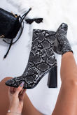 PERRIE Grey Snake Print Faux Leather Block Heel Ankle Boots