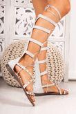 ANASTASIA Grey Faux Suede Stud Gladiator Sandals