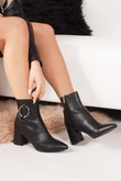 HAZEL Black Ring Detail Pointed Toe Ankle Boots