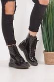 JULIA Black Faux Patent Leather Lace Up Ankle Boots