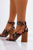 ROBERTA Leopard Print Faux Suede Strap Block Heeled Sandals