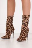 HARPER Leopard Print Stiletto Sock Boots