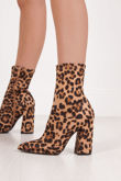 MIMI Leopard Print Fitted Block Heel Sock Boots In Faux Suede
