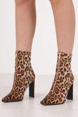 JHENE Leopard Print Zip Front Slim Block Heel Sock Boots