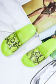 GRACE Neon Green Snake Print Sliders