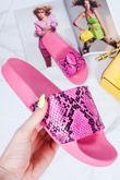 GRACE Neon Pink Snake Print Sliders