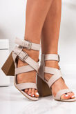 LAUREL Nude Cross Strap Block Heeled Sandals