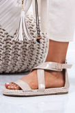 HEIDI Nude Strappy Rope Sandals