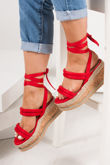 HARLOW Red Faux Suede Wrap Up Flatform Espadrille Sandals