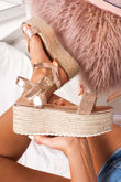 KOURTNEY Rose Gold Diamante Strap Espadrille Flatforms