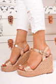 PIPER Gold Quilted Strap Espadrille Wedges