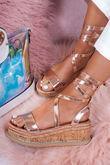 INDIGO Rose Gold Wrap Up Espadrille Flatforms